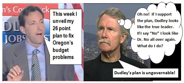 toon dudley kitzhaber 26pointplan Kitzhaber conflicted over response to Chris Dudley budget plan