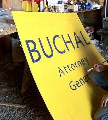 Hand painted James Buchal sign