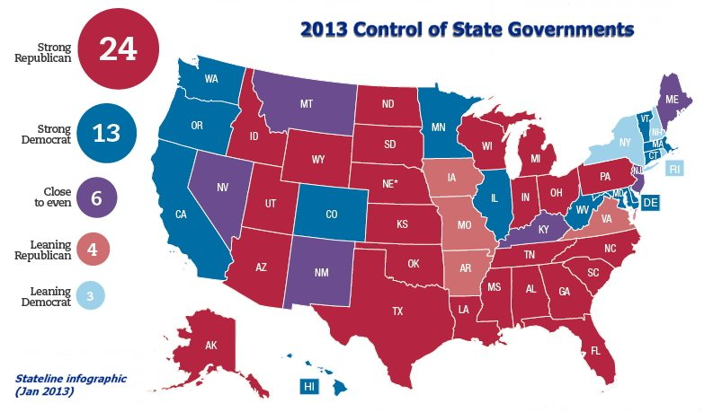 Stateline infographic Jan 2013 Most Americans live in Republican controlled states