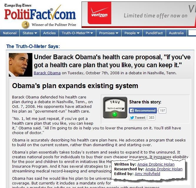 2008 TRUE Left leaning PolitiFact loses last shred of credibility