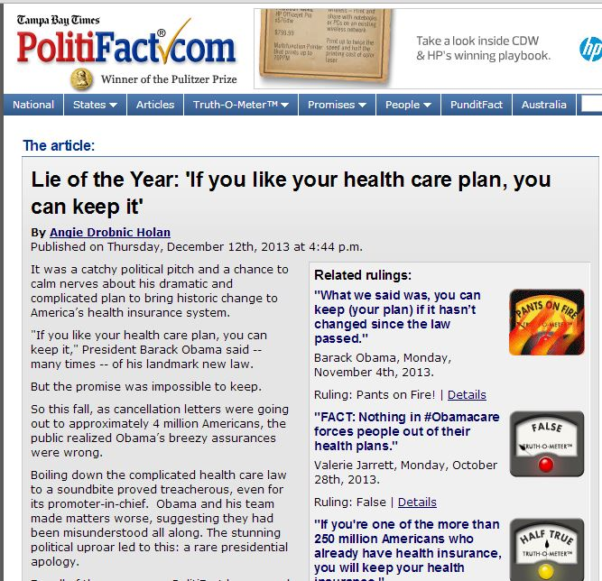 2013 Lie of the year Tampa Bay Left leaning PolitiFact loses last shred of credibility