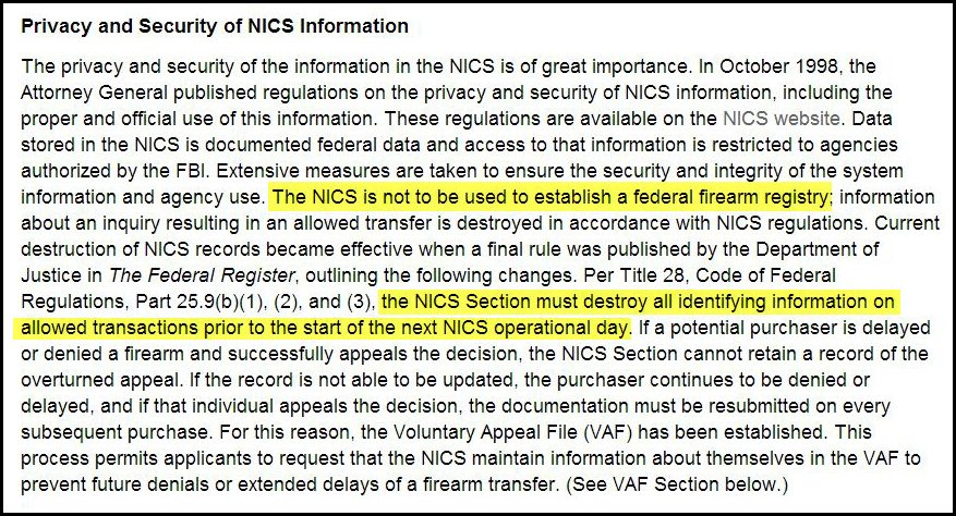 Privacy and Security of NICS Information
