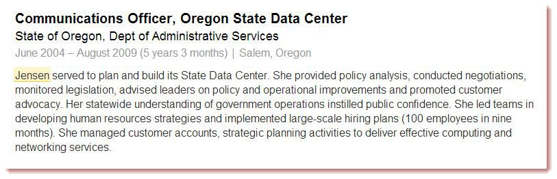 Barbara Jensen - LinkedIn - OR State Data Center