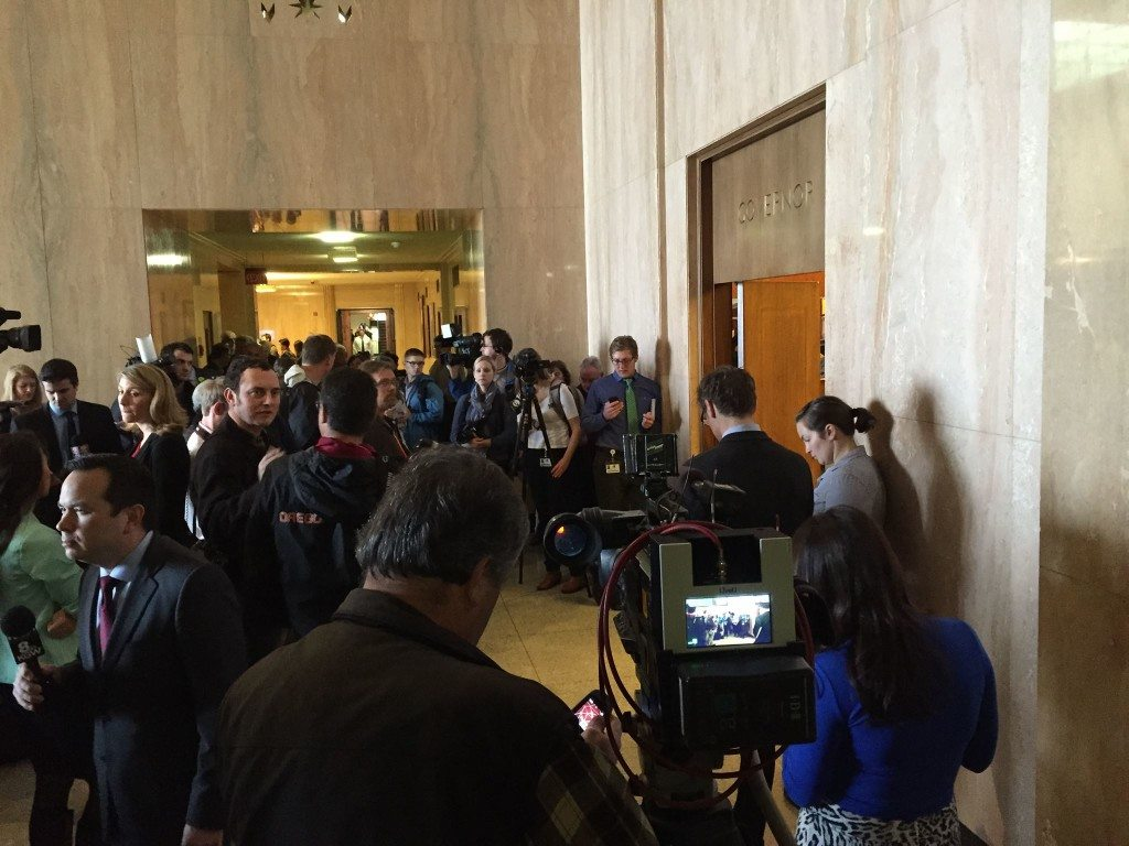 Media outside Governor's office in Capitol (Oregon Catalyst)