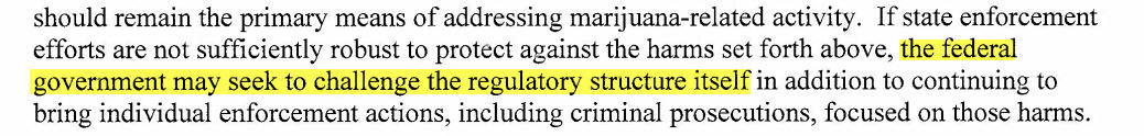 excerpt from Aug 2013 U.S. DOJ memorandum