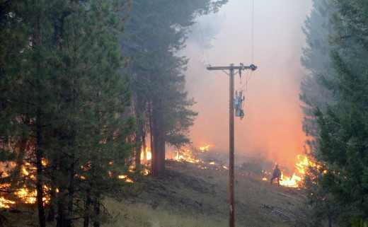 Canyon Creek Complex Fire - Protecting Powerlines - Aug 18, 2015 (NWCGgov)