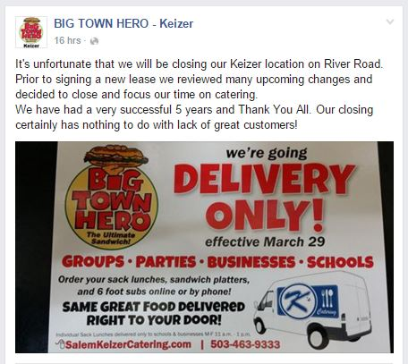 Big Town Hero closing