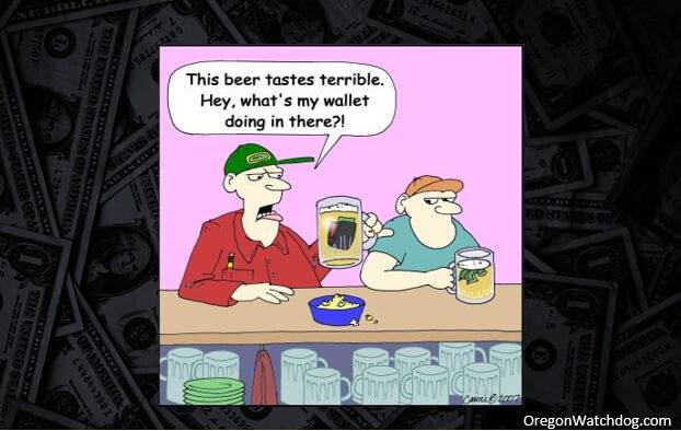 Cartoon: wallets inside a glass of beer